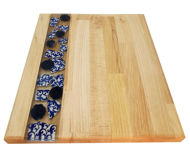 Obrazek Taca drewniana duża ceramika - KOBALT