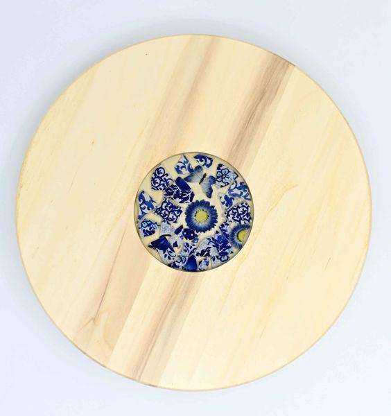 Obrazek Taca drewniana obrotowa Ceramika Kobalt MIX