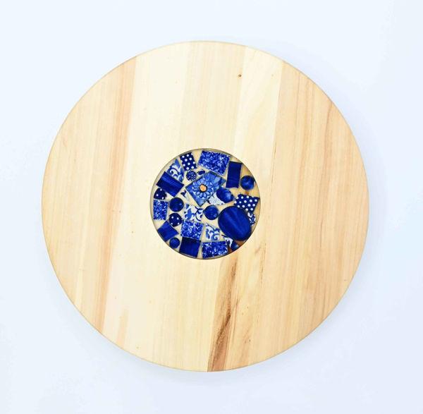 Obrazek Taca drewniana obrotowa Ceramika KOBALT