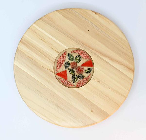 Obrazek Taca drewniana duża Ceramika - motyw kwiatowy