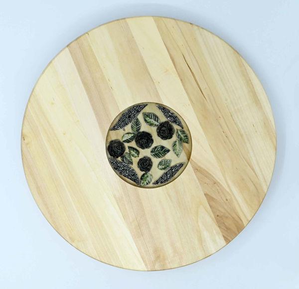 Obrazek Taca drewniana obrotowa Ceramika MIX