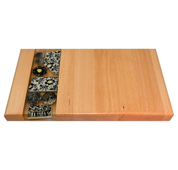 Obrazek Taca drewniana mała ceramika - MOTYW KWIATOWY