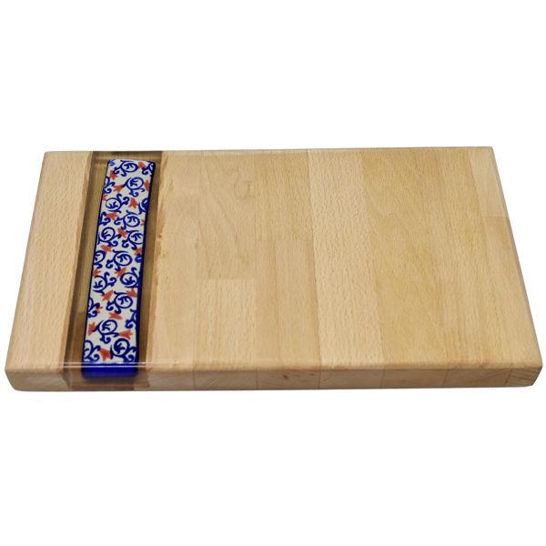 Obrazek Taca drewniana mała ceramika - MOTYW KWIATOWY ZNAMMI