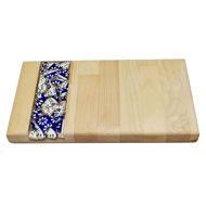 Obrazek Taca drewniana mała ceramika - KOBALT
